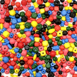 Assorted Wooden Craft Beads - Bag of 650
